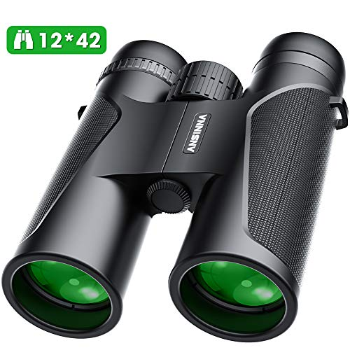 Fernglas,12 x 42 Compact Binoculars for Bird Watching, Hiking, Hunting, Sightseeing, Small Binoculars with Night Vision Function FMC Lens, Carry Bag and Smartphone Adaptor