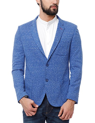 The Indian Garage Co Men's Blue Slim Fit Cotton Striped Casual Blazer...