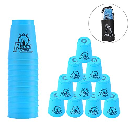 Quick Stacks Cups 12 Pack of Sports Stacking Cups Speed Training Game Challenge Competition Party Toy with Carry Bag(Blue)