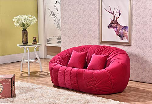 AXHSYZM Double Pumpkin Chair Lazy Sofa Dutch Velvet Simplicity Casual Furniture Living Room Bedroom Casual Sofa,Rose red