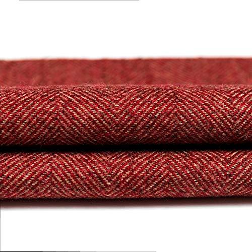 McAlister Textiles Herringbone Tweed | Stoff als Meterware in Rot | Per halber Meter | 140 cm Breite...