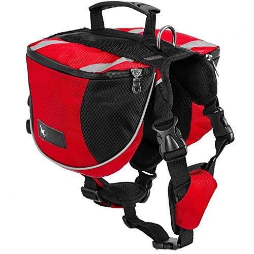 Mochila Arnés para Perro Mascota Mediano y Grande - Bolsa de Sillín Portador Impermeable Equipo de Senderismo para Viaje Aire Libre Paseo, Alforja Ajustable Tira Reflectante (M (chest: 70-93cm), Rojo)