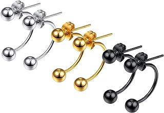 أقراط مسمار من الفولاذ المقاوم للصدأ بنمط الشرير بنتوءات طوقية للرجال والنساء ، مجوهرات بيان ، تأتي في صندوق هدايا