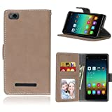 Funda Xiaomi Mi 4i 4c Mi4i Mi4c M4i M4c,Bookstyle 3 Card Slot PU Cuero Cartera para TPU Silicone Case Cover(Beige)