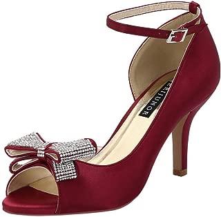 Women Comfortable Middle Heel Peep Toe Bows Rhinestones Satin Wedding Evening Party Shoes