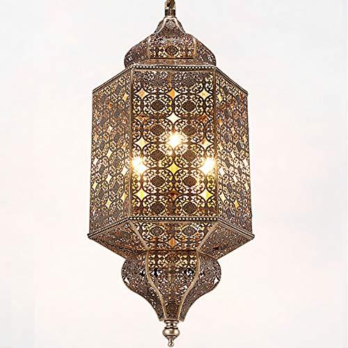 Pn&cc Lámpara Colgante Vintage de la Industria Lámparas de Techo Pantalla, lámpara de araña marroquí Lámpara Colgante árabe Turco clásico Calado Lámpara de latón Antiguo
