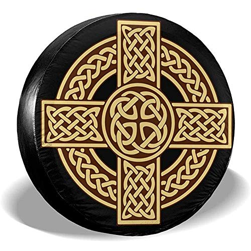 ETGeed Cubierta del neumático de Repuesto Celtic Cross Irish Scottish Impermeable Universal Fit Wheel Protector del neumático