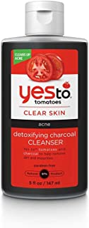 Yes To Tomatoes Detoxifying Charcoal Facial Cleanser (5 Ounce) – Acne Face Wash for Women and Men with Salicylic Acid – Shine and Blackhead Control Charcoal and Jojoba Oil
