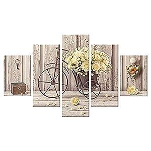 Lupia Vogue - Composición de 5 Cuadros de Madera para Pared, Rosas Amarillas, 66x 115cm