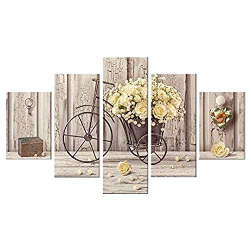 Lupia Quadro Moderno 5 Pezzi in Legno Vogue 66X115 cm Yellow Roses