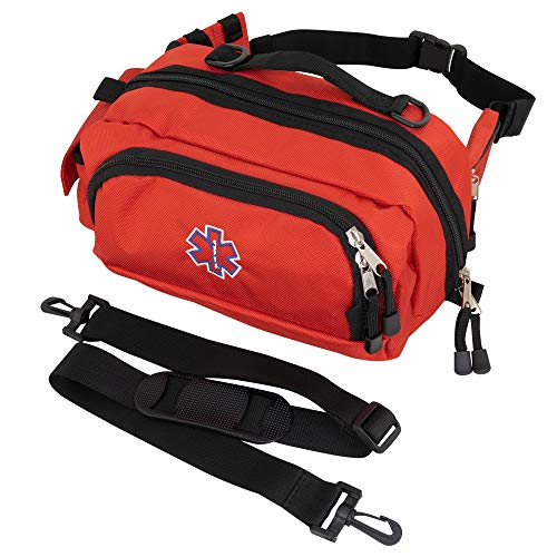 LINE2design Deluxe Fanny Pack Large - First Aid EMS EMT Paramedic First Responder - Multiple Heavy-Duty Zippers Internal Pockets Emergency Equipment Portable Bag - Red