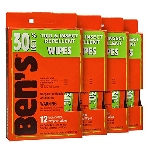 Ben's 30 Insect Repellent Wipes, 12 ct (Pack of 4)