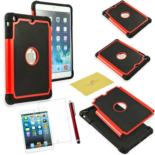 iPad Mini/Ipad Mini 2/Ipad Mini 3 Case, Fulland Hybrid Shockproof Dirt Proof Durable Rubber Case Cover for Apple Ipad Mini and New Ipad Mini 2, iPad Mini 3 plus bonus Stylus Pen and Screen Protector-Red/Black