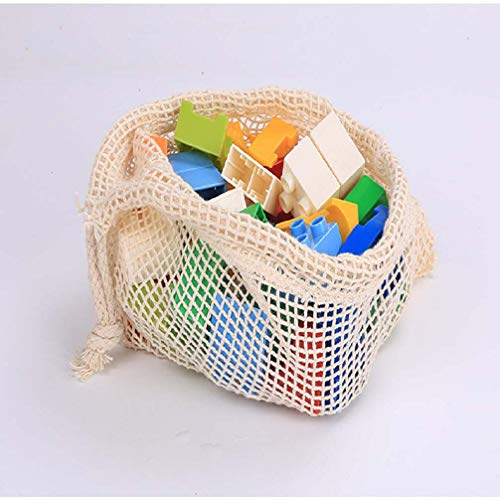 Shuang Obst und Gemüse Mesh-Taschen,Wiederverwendbare Einkaufstaschen,Bio-Baumwolle Seil Einkaufstaschen,10 Packungen (11 * 8 Zoll)