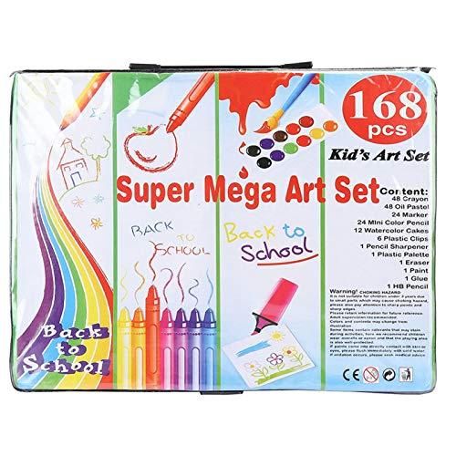 EVTSCAN - Juego de arte de 168 piezas, suministros de arte en estuche portátil, crayones, pasteles al óleo, lápices de colores, tortas de acuarela, sacapuntas, papel de lija(Negro)