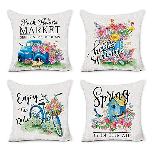 Hexagram Juego de 4 fundas de almohada de primavera de 45 x 45 cm, diseño de flores frescas, color azul, para salón, sofá, cama, porche al aire libre, primavera, verano, decoración del hogar