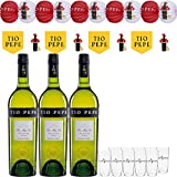 Tio Pepe Pack Feria de 3 Botellas: 750 Ml + 10 Guirnaldas + 10 Farolillos + 10 Vasitos