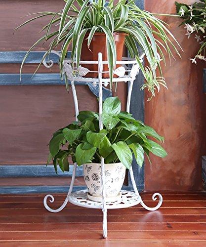 KKCFHUAJIA Etagère De Fleur De Style Européen De Fer Créatif Balcon Bureau Pots De Fleurs Plate-Forme Plante Stand (Couleur : Blanc, Taille : 50 cm)