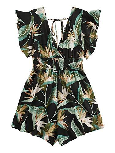 MakeMeChic Women's Plus Size Tropical Print Belted Tie Back Ruffle Trim Romper Black 2XL