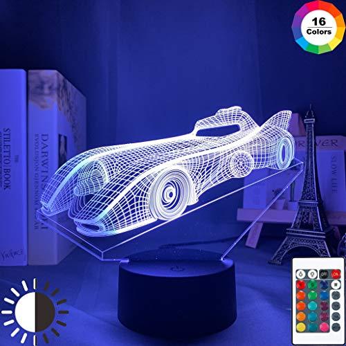 Acrílico Baby Sports Car Boy Racing Car Night Light 3D LED Lámpara de mesa niños regalo de cumpleaños decoración de la habitación junto a la cama