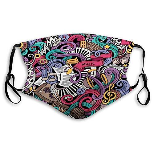 AOTISO Comfortabel bedrukt masker, doodle, muziekthema Handgetekende abstracte instrumenten Microfoon Drums Toetsenbord Stradivarius, Multicolor