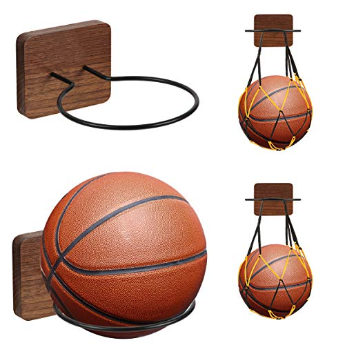 UHIAGREE 2 Pack Sports Ball Holders, Wood & Metal Wall Mount Display Rack with 2 Pack Basketball Net Bags for Basketball Volleyball Rugby Soccer