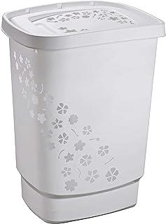 Rotho Flowers Collecteur de linge 55l avec couvercle, Plastique (PP) sans BPA, gris, 55l (44,7 x 34,7 x 60,5 cm)