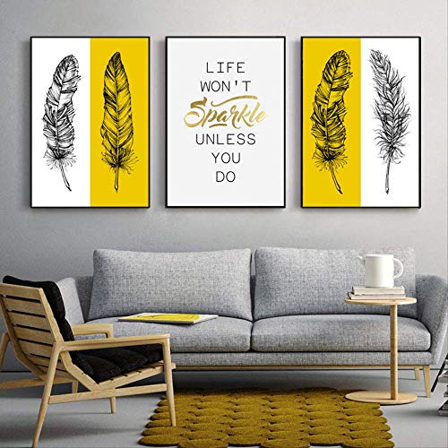 LWJZQT canvas afdrukken 3 stuks veer Life Quote afbeelding wooncultuur Nordic canvas schilderij muurkunst print minimalistisch zwart wit brief poster voor woonkamer