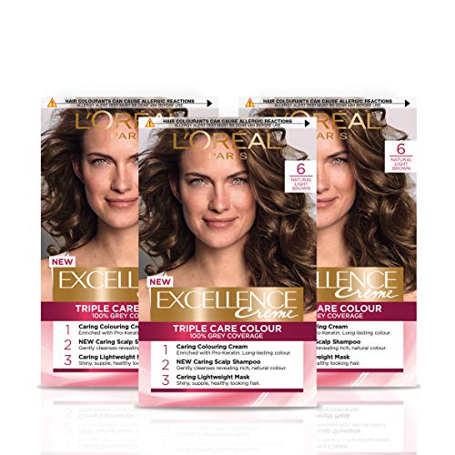 L'Oreal Paris Excellence Crème Brown Permanent Hair Dye, Up to 100% Grey Hair Coverage, Natural-Looking...