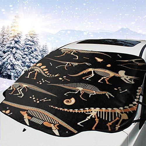 Parabrisas del coche Cubierta de nieve Esqueleto de dinosaurio Estampado de animales Parasol Cubierta del parabrisas Protector solar Cubierta antipolvo Frost Snow Cubierta de hielo en todo 147x118cm