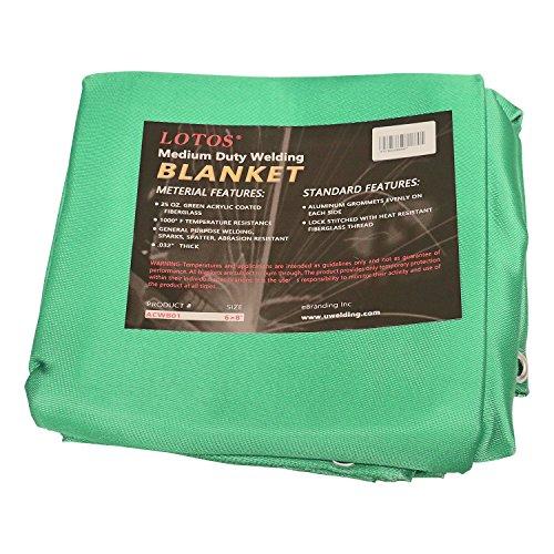 Lotos Technology ACWB01 6' x 8' Acrylic Fiberglass Heat Treated Medium Duty Grommet Green Welding Blanket
