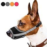REENUO Dog Muzzles Mesh Breathable Nylon Adjustable Loop Dog Training Muzzle for Small Medium Large Dogs (XL, gray)