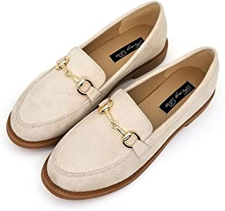 c9a4102940f T-JULY Women s Fashion Oxfords Shoes - Retro Slip On Low Heel Round Toe  Suede