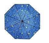 Sternenhimmel überzogenes Muster Vinyl-Sonnenschirm Touch Attack Tuch leicht und schlank dreifach winddicht Regenschirm Schulbedarf Gelb gelb