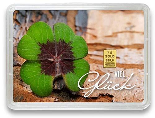 "Goldbarren 1g – Geschenk Motivbox ""Viel Glück"" – Valcambi ESG - Feingold 999,9 (1g Gold)"