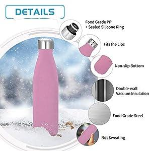 King Do Way - Bouteille en acier isotherme, bouteille d'eau de sport, thermos, rose, 500ml