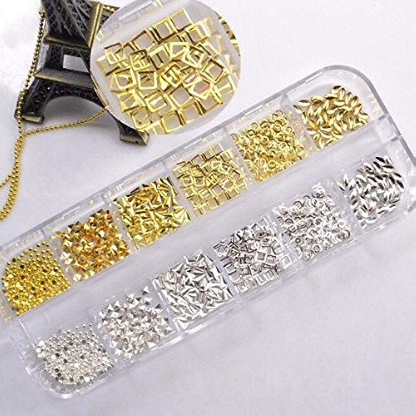 カーテン神の基礎【ネイルウーマン】メタルパーツ ゴールド/シルバー 12種類セット (Gセット /1.5mm~3mmサイズ/約400粒入り) ケース入り