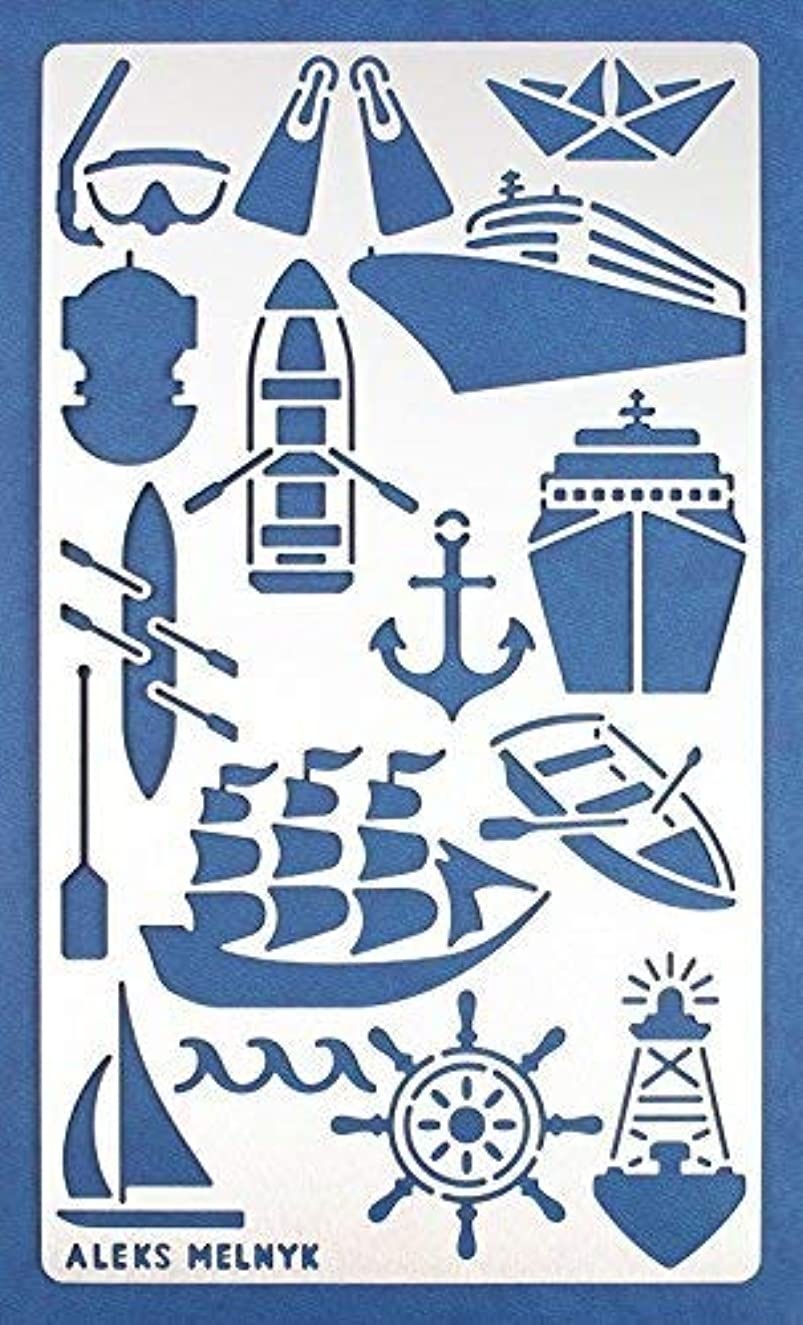 Aleks Melnyk #20 Metal Journal Stencil/Water Transport/Stainless Steel Stencil 1 PCS/Template Tool for Wood Burning, Pyrography and Engraving/Scrapbooking/Crafting/DIY
