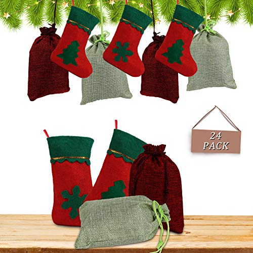 Zorara Adventskalender om te vullen, 24 kerstkalender om zelf te vullen op te hangen, jutezakje, vilt zakje, cadeauzakje voor DIY Kerstmis adventkalender ketting