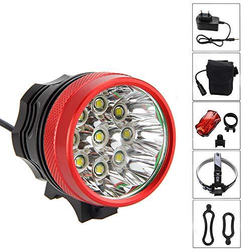 Sookg Fahrradlampe, 18000LM 9x CREE XM-L T6 Wasserdichte Fahrradlampe, 6x18650 Batterieladegerät und 3-Uhr-Lichtmodus