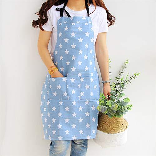 Lindong Sterne Schürze mit Tasche Baumwolle Leinen Damen Küchenschürze Latzschürze Kochschürze zum Kochen oder Backen hellblau