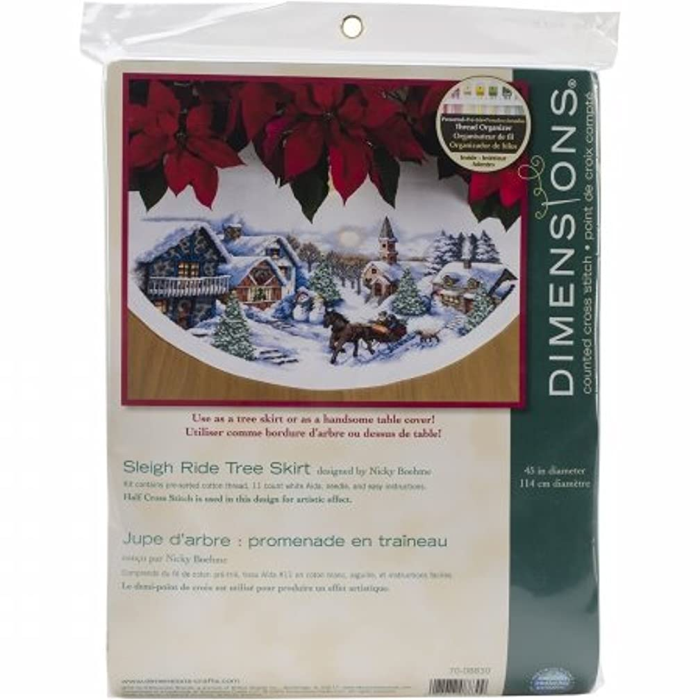 Sleigh Ride Tree Skirt Counted Cross Stitch Kit-45 Round 11 Count