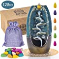 Luxxis Waterfall Incense Burner, Ceramic Backflow Incense Holder, 120 Bonus Cones with Carrying Satchel + Elegant Place Mat, for Home Decor, Ornament, Aromatherapy, Meditation, Relaxation