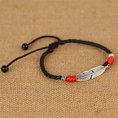 Tobilleras ajustables hechas a mano con forma de hoja simple tejida cuerda ajustable pulsera de pie suerte para mujeres y hombres (color metálico: rojo negro)