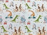 Stoff aus 100 % Baumwolle, niedliche Tiere auf Fahrrädern,