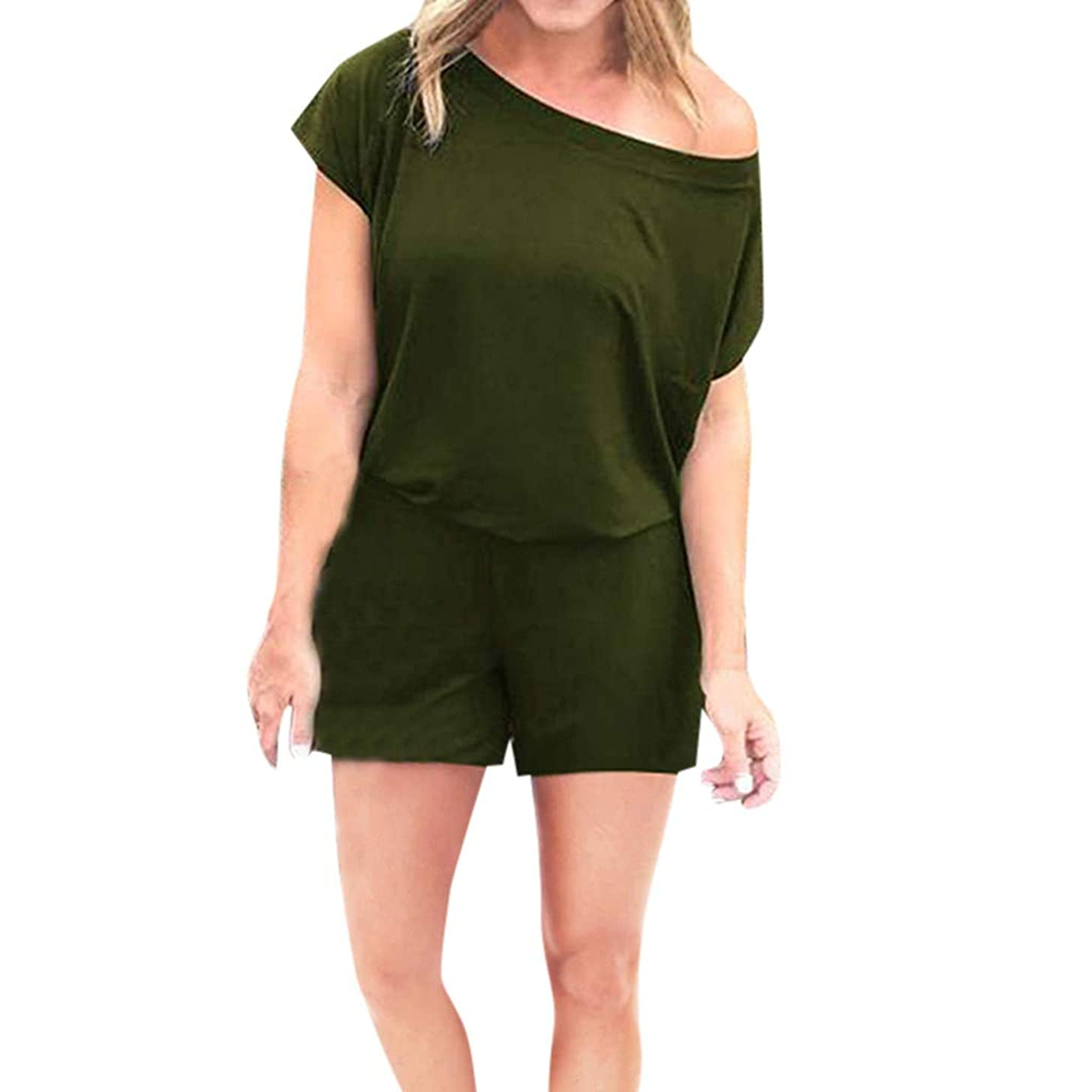 Selomore Women's Loose Solid Off Shoulder Elastic Waist Stretchy Short Romper Jumpsuit