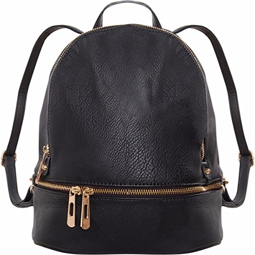 Humble Chic Vegan Leather Backpack Purse - Small Fashion Travel Bag or School Book-bag for Women and Girls - Mini Daypack Satchel with Adjustable Straps, Black