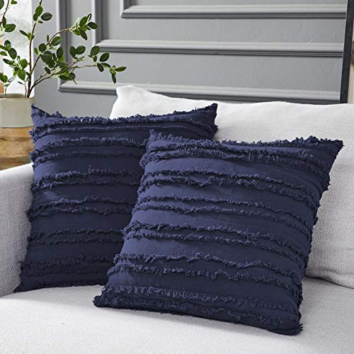 decorative pillows Longhui bedding Navy Blue Throw Pillow Covers for Couch Sofa Bed, Cotton Linen Decorative Pillows Cushion Covers, 18 x 18 inches, Set of 2