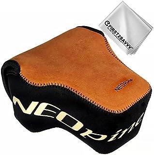 First2savvv Brown Neoprene Camera Case Bag for Nikon Z7 Z6 (NIKKOR Z 24-70mm f/4 S) + Cleaning Cloth