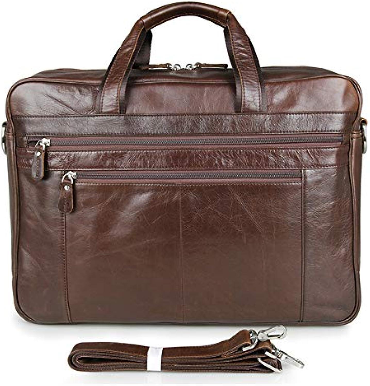 Men's Shoulder Bag Leather Business Men's Bag Large Retro Leather Men's Bag Large 17inch Computer Bag (color   Brown, Size   L)